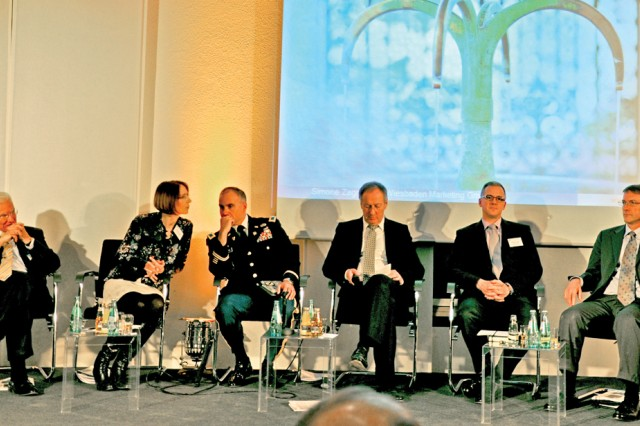 U.S. Army Garrison Wiesbaden leaders take part in an information evening for the Wiesbaden Chamber of Industry and Commerce Feb. 15.