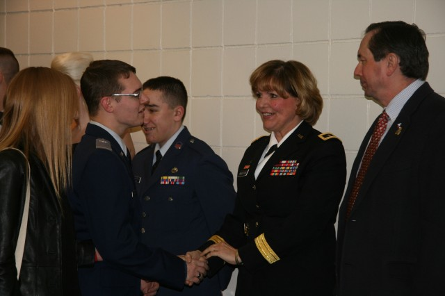 Maj. Gen. Patricia McQuistion, ASC commanding general, and her husband, retired Col. Leif Johnson, greet members of the Davenport, Iowa, Civil Air Patrol in the receiving line of the squadron's annual dining out. (U.S. Army photo by Jackie Hoggins, ASC Public Affairs).