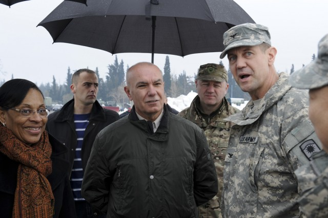 Col. Robert Levalley (right), the commander of the 7th Civil Support Command's 361st Civil Affairs Brigade, Sue Brown (left), the U.S. Ambassador to Montenegro, and Boro Vucinic (middle), the Montenegrin Minister of Defense, discuss the situation upon arriving in Montenegro Feb. 19, 2012. Soldiers are there as part of a U.S. task force to provide humanitarian assistance at request of the government of Montenegro coordinating with the National Emergency Operations Center and the Montenegrin Ministry of Defense to provide relief and to save lives, homes and infrastructure in response to heavy snowfall.