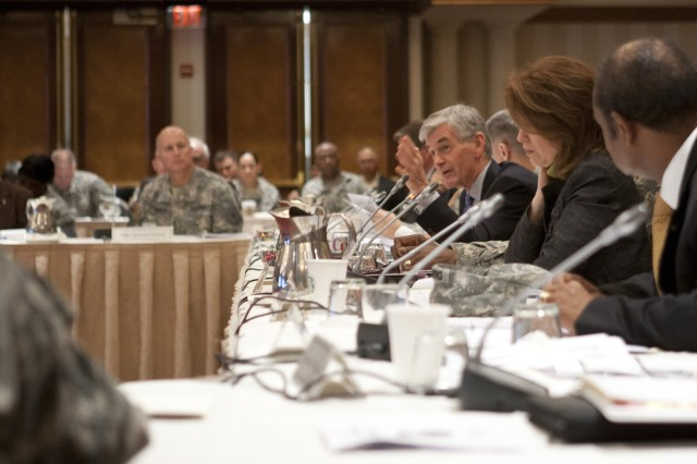 Secretary of the Army John McHugh speaks at the 2012 Army Family Action Plan General Officer Steering Committe meeting. McHugh, Army Vice Chief of the Staff Gen. Lloyd Austin and Sgt. Maj. of the Army Raymond Chandler participated in the 2012 Army Family Action Plan General Officer Steering Committe meeting Feb. 28 in Arlington, Va. More than 30 current issues submitted by garrison-level AFAP programs were discussed.
