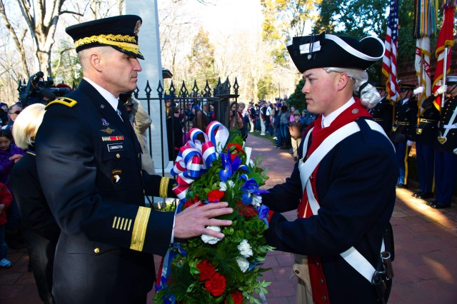 U.S. Army Maj. Gen. Michael S. Linnington, commanding general of the Military District of Washington, hosts a wreath-laying ceremony in honor of former President George Washington on his birthday at Mount Vernon, Va., Feb 20. In honor of the day's event, Mount Vernon was free to the public. Many showed up to enjoy the ceremony and tour Washington's house on a day honoring past presidents.
