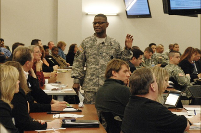 Col. Rodney D. Edge, Fort Lee U.S. Army Garrison, commander, briefs community members about the installation's lodging facilties Feb. 26.