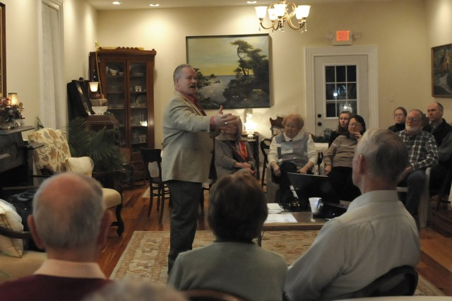 George Eaton, Army Sustainment Command historian, speaks with participants in the Geneseo Historical Museum monthly discussion, Feb. 29, about the Civil War and ties to Rock Island Arsenal.