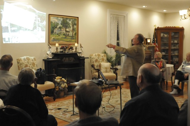 George Eaton, Army Sustainment Command historian, presents a slideshow to participants in the Geneseo Historical Museum monthly discussion, Feb. 29, about the Civil War and ties to Rock Island Arsenal.