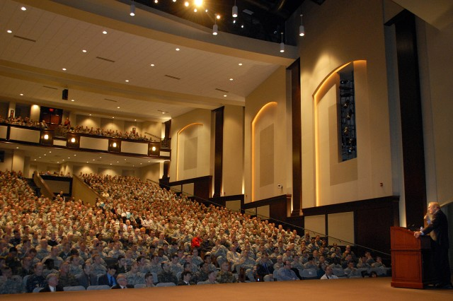 Command and General Staff College students fill Eisenhower Auditorium to hear former Secretary of Defense Donald Rumsfeld's address Feb. 24 at the Lewis and Clark Center, Fort Leavenworth, Kan.
