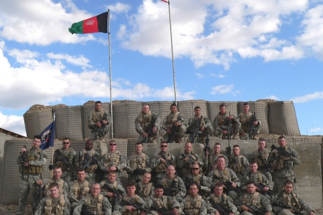 Then-1st Lt. Sean Parnell, far left, poses with his Soldiers of 3rd Platoon, B Company, 2nd Battalion, 87th Infantry Regiment during their 2006-2007 deployment to Afghanistan.