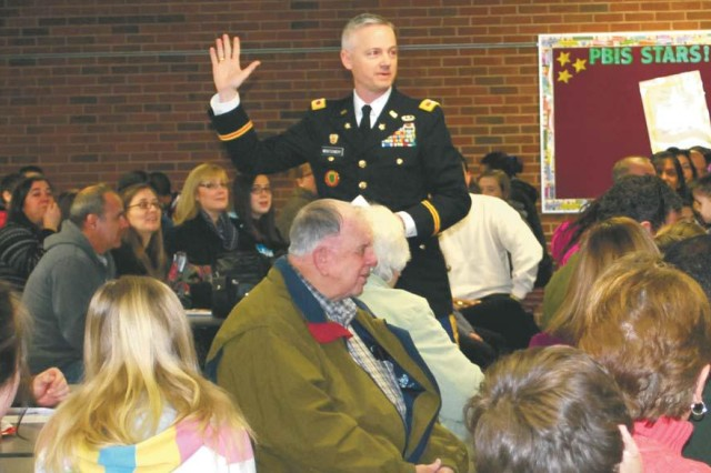 CECOM Chief of Staff Col. William 'Bill' Montgomery encourages students to strive for excellence during a Havre de Grace Middle School a honors breakfast Feb. 14 recognizing students who achieved a 3.5 grade point average or better in the last report card rating cycle.