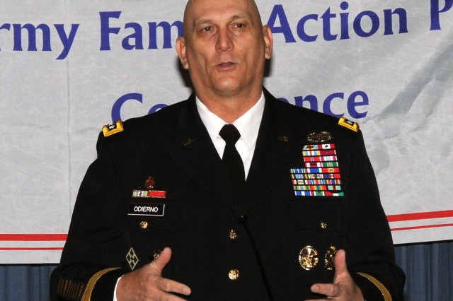 Gen. Raymond T. Odierno, chief of staff of the Army, thanks the delegates at the Army Family Action Plan conference, March 2, 2012, for all the work they've done in support of Army Soldiers and their families.