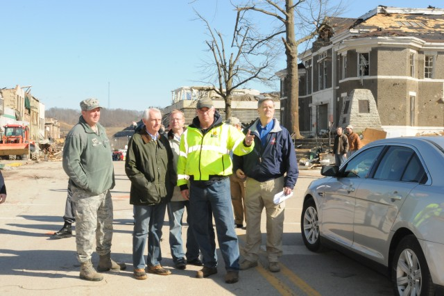 Kentucky's Governor Steve Beshear, Maj. Gen. Ed Tonini, the adjutant general, and Brig. Gen. John Heltzel, the director of Kentucky's emergency management, assess the damage in West Liberty, Ky. after the tornadoes of March 2, 2012.