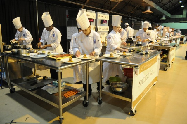 U.S. Soldiers with the Fort Drum and For Campbell Culinary Teams compete in the Student Team Skills Competition in Fort Lee, Va., March 03, 2012. Members of each branch of the military competed in various culinary categories during the 37th Annual Military Culinary Competition. (U.S. Army photo by Spc. Daneille Hendrix)