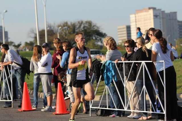 "1st Lt. Charles ""Chad"" Ware, 304th Military Intelligence Battalion, runs in the Army Ten-Miler in Washington D.C. in October. He credits his performance at that event and his win during the Marine Corps Marathon for his selection as Army Athlete of the Year."