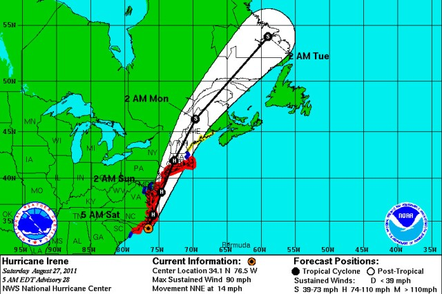 Hurricane Irene projected track as of 5 a.m., Aug. 27, 2011