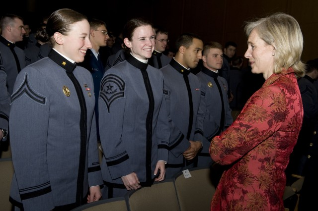 Lady Sarah-Jane Shirreff chats with a few cadets prior to the evening's lecture on generalship. General Sir Richard Shirreff, Deputy Supreme Allied Commander Europe was the guest speaker for the 65th annual Kermit Roosevelt Lecture Series March 5 at West Point.
