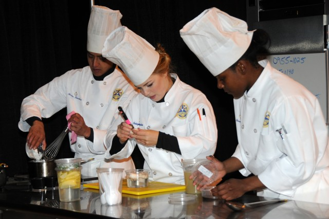 Pfc. Sundar Ranabhat, Pfc. Caleigh Batchelder and Spc. ShaRee Taylor, all from Fort Hood, Texas, worked together on the student team competition during the 37th Annual Culinary Arts Competition, Feb. 9 - March 7, 2012, at Fort Lee, Va.