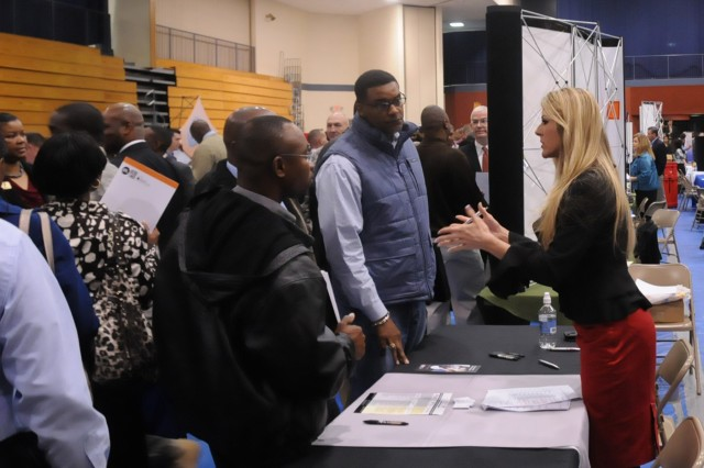 Both pre-registered Soldiers and veterans and walk-ins numbering a total of 1,176 job seekers attended the Hiring Our Heroes job fair held at Fort Jackson's Solomon Center on March 6. The U.S. and local Chambers of Commerce along with the Employer Partnership of the Armed Forces and 75 prospective employers teamed up with the Fort Jackson command team to plan and hold the event.