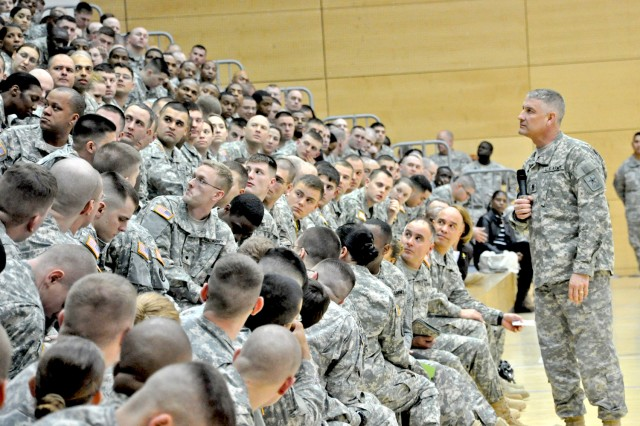 Sgt. Maj. of the Army Raymond F. Chandler III answers questions from Soldiers during a visit to Wiesbaden, Germany, March 7, 2012.