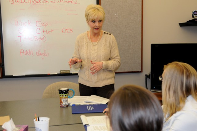 Debbie Gaydos teaches an employment readiness session Mar. 6 at the Soldier Service Center.