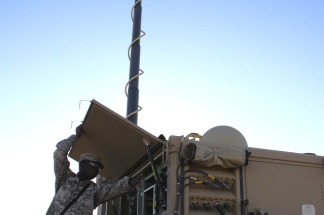 A Soldier from the 2nd Brigade, 1st Armored Division, tests Warfighter Information Network-Tactical Increment 2 Tactical Communications Node during Network Integration Evaluation 12.1 at White Sands Missile Range, N.M.
