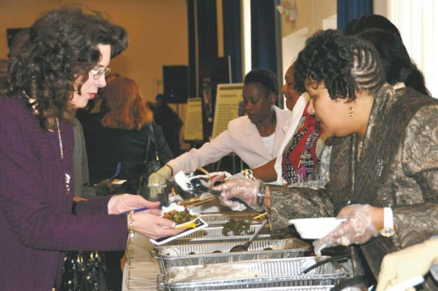 Attendees at APG's Black History Month Observance sampled a variety of ethnic foods, including collard greens, black-eyed peas, and cornbread Feb. 29 at the APG North recreation center. Basketball star Nevil Shed, who was depicted in the Disney blockbuster film 'Glory Road,' was the guest speaker.