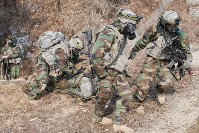 Soldiers from 1st Battalion, 72nd Armor Regiment, 1st Brigade Combat Team, 2nd Infantry Division, conduct force-on-force training at Rodriguez Live Fire Complex.