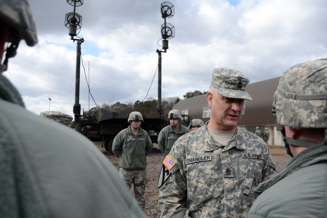 Sgt. Maj. of the Army Raymond F. Chandler III speaks to Soldiers from Battery D, 5th Battalion, 7th Air Defense Artillery, during his March 8, 2012, visit to Rhine Ordnance Barracks, U.S. Army Garrison Kaiserslautern.