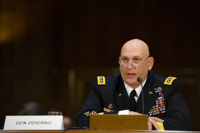 U.S. Army Chief of Staff Gen. Raymond T. Odierno testifies before the Senate Armed Services Committee in Washington, D.C., March 8, 2012.