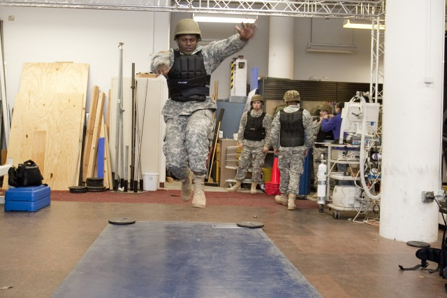 A running broad jump is part of Soldier performance testing being done by the U.S. Army Research Insititue of Environmental Medicine at Natick Soldier Systems Center.