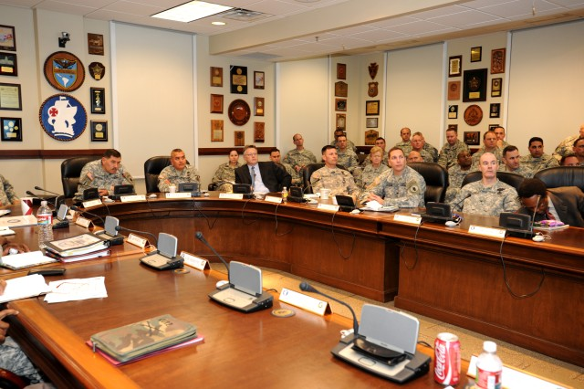 FORT SAM HOUSTON, Texas - Maj. Gen. Simeon G. Trombitas, U.S. Army South commanding general, participates in the 2012 U.S. Army South ARSEC/MPEP Conference at the Army South headquarters building here Mar. 3.