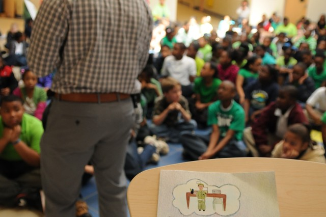 Capt. Jarvis Buchanan, 412th TEC mobilization officer and native of Houston, Miss., inspires local school children to dream and to believe in themselves with 'I Dream in Color' during a visit to Bates Elementary School, Jackson, Miss., Mar. 2, 2012.