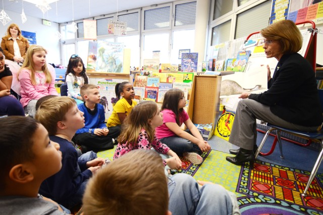 Jeanne Chandler reads to Jeannette Maitner's multiage class at Vilseck Elementary School, March 6.