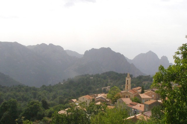 A small Corsican village sits away from the clamor of the highway.