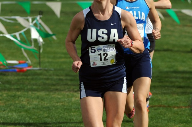 Capt. Mickey Kelly competes in the running portion of the Modern Pentathlon World Cup in Charlotte, N.C., March 10, 2012.