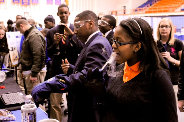About 300 students examined, inspected and explored the science and engineering that supports U.S. Army Soldiers at the Innovative STEM Conference at Morgan State University in Baltimore March 8.