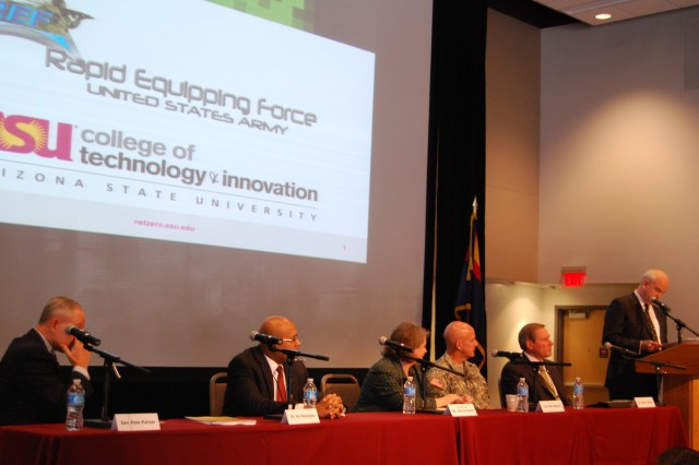 A panel consisting of (from left) Brig. Gen. (ret) Pete Palmer, Dr. Vic Ramdass, the Honorable Sharon Burke, Col. Peter Newell and Dr. Werner Dahm, served to express to a large audience of academia and industry the importance in investing in energy solutions for the department of defense.