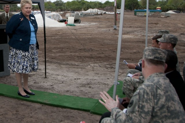 Vice Mayor Patty Mahany welcomed and gave a City of Sanford history lesson to all military and civilian personal that attended the Army Reserve Ground Breaking Ceremony. Expressing how in the past and future the City of Sanford has always been great supporters of all personal that are affiliated with the military.