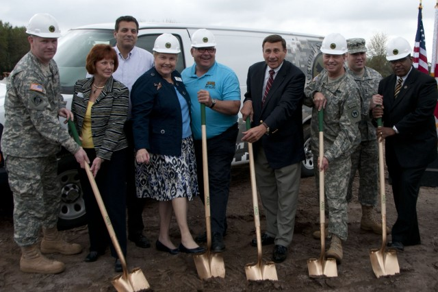 Col. Patrick Briley, Director of Public Works of the 81st Regional Support Command; Brenda Carey, Seminole County District 5 Commissioner; Bob Dallari, Seminole County District 1 Commissioner, Vice Mayor Patty Mahany; Mark McCarty, City of Sanford District 1 Commissioner; US Congressman John Mica, 7th District of Florida; Brig. Gen. William J. Gothard, Deputy Commander of the 81st Regional Support Command; 1st Lt. Alejandro Rosado, Commander of the 81st Trailer Transfer Detachment; and US Army Reserve Ambassador Allie Braswell; prepare to break ground on a new Army Reserve facility.