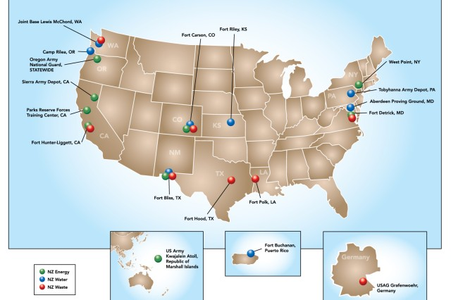 This graphic, created by the U.S. Army Corps of Engineers Engineer Research and Development Center, shows installations identified for the U.S. Army's vision of net zero approach. Net zero is an Army-wide initiative that aims to manage resources in a sustainable manner including maximizing facility energy efficiency, implementing water conservation practices and eliminating unnecessary waste generation. The Army has selected six pilot installations to be net-zero energy; six to be net-zero waste; six to be net-zero water; and two to be all three by 2020.