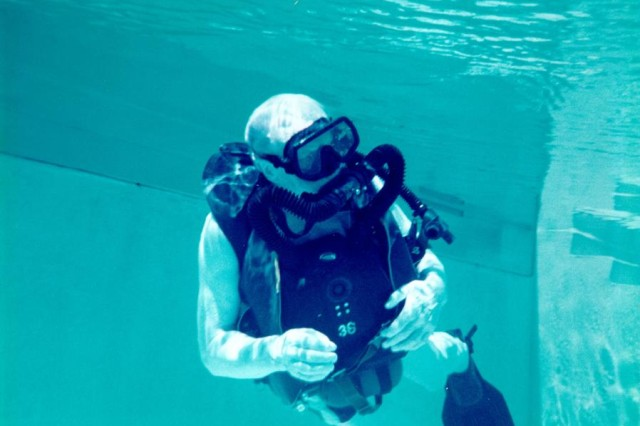 Dr. Christian Lambertsen conducts a 15-minute underwater dive at the U.S. Army's Special Forces Underwater Operations School in Key West, Fla. in the mid-1990s. At the time of the dive, Lambertsen was in his mid-80s. Lambertsen, a World War II veteran and Office of Strategic Services operational swimmer, invented the Lambertsen Amphibious Respiratory Unit - the precursor to modern SCUBA equipment - while attending medical school in 1941.