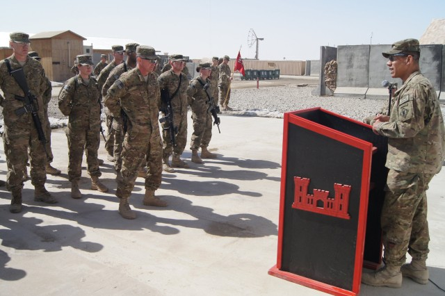 Lt. Col. Mark Quander, 7th Engineer Battalion commander, speaks to a group of Soldiers during a mass re-enlistment ceremony March 6 at Forward Operating Base Shank, Afghanistan.