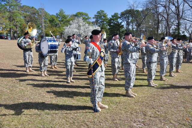 The 282nd Army Band performs at last week's change of command ceremony.