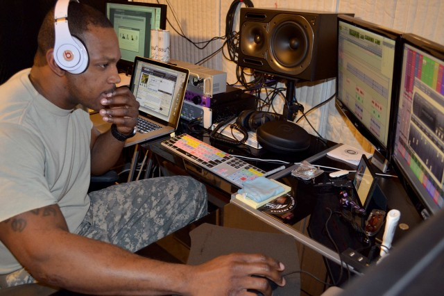 "KAISERSLAUTERN, Germany "" In his free time, Chief Warrant Officer 2 Zyon Gooden, a 19th Battlefield Coordination Detachment Soldier stationed at Ramstein Air Base, records original music a blend of rap and Jamaican dance hall music. His first single ""Lyrical Murdera"" was released online in March 2012."