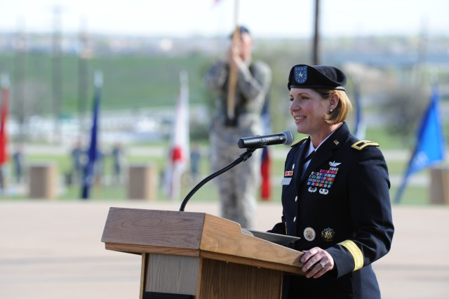 Brig. Gen. Laura Richardson, commanding general Operational Test Command, addresses a crowd during her promotion ceremony March 9, 2012.