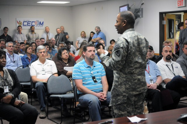 Maj. Gen. Robert S. Ferrell, commander of the U.S. Army Communications-Electronics Command, addresses the Central Tecnical Support Facility personnel during a March 14 all-hands meeting.  Ferrell capped a day-long visit to the CECOM facility discussing issues facing the CTSF, CECOM, and the Army.