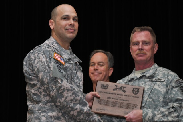 Chief Warrant Officer 2 Avidail Campgne (left), of the 5th Special Forces Group (Airborne), accepts a plaque from Chief Warrant Officer 5 Daniel Wilke, the commandant of the Special Forces Warrant Officer Institute March 16 at Fort Bragg, N.C. Campagne was recognized with the Commandant's Award for Excellence during a graduation ceremony for the Special Forces Warrant Officer Advanced Course.