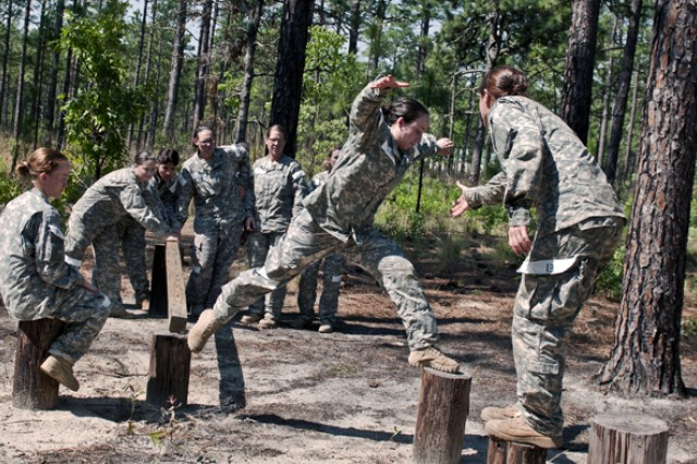Soldiers negotiate obstacles during the Cultural Support Assessment and Selection program. The U.S. Army Special Operations Command's cultural support program prepares all-female Soldier teams to serve as enablers supporting Army special operations combat forces in and around secured objective areas. The Cultural Support Assessment and Selection program is conducted by the U.S Army John F. Kennedy Special Warfare Center and School at Fort Bragg, N.C., and is five days of physical, mental and intellectual evaluations designed to determine a candidate's ability to maintain her composure, apply logic, communicate clearly and solve problems in demanding environments. The desired outcome of assessment and selection is a candidate pool of female Soldiers who are eager to serve with an Army special operations unit. Their primary task is to engage female populations in objective areas when such contact may be deemed culturally inappropriate if performed by a male service member.