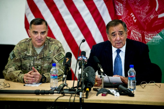 Defense Secretary Leon E. Panetta conducts a press conference with Lt. Gen. Curtis M. Scaparrotti, commander of the International Security Assistance Force Joint Command, in Kabul, Afghanistan, March 15, 2012.