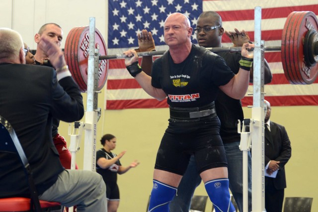 Air Force Chief Master Sgt. Troy Saunders sets a military record during squat competition during the March 17 National Military Powerlifting Championship at Miesau Army Depot.