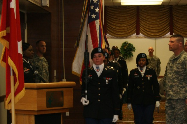 FORT CARSON, Colo. -- The 3rd Special Troops Battalion, 3rd Brigade Combat Team, 4th Infantry Division women's color guard presents the colors during the annual Women's History Month observance March 19.
