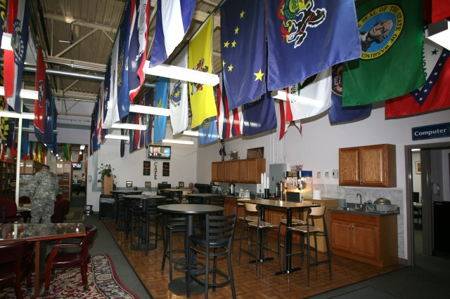 Patrons of the CW2 Christopher G. Nason Military Intelligence Library can enjoy a snack, cup of coffee and watch the news in the cafe area and any of the other seating areas around the library