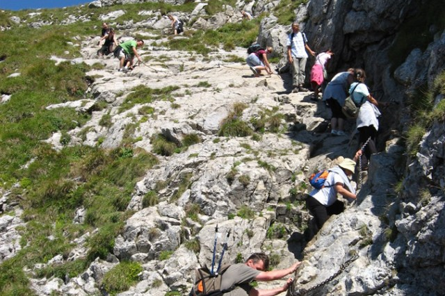 "As the Giewont's summit draws near, the throngs of pilgrims hiking to the top start to bunch up, making for some breathtaking "" and hair-raising "" sections of ascent."